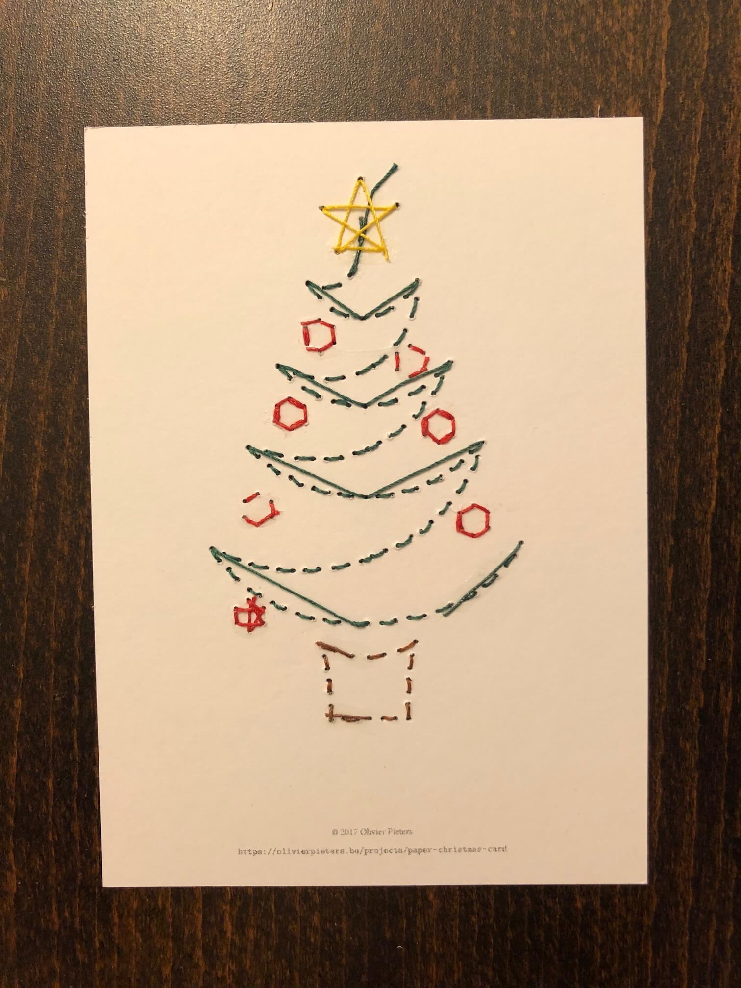 finished Christmas card back